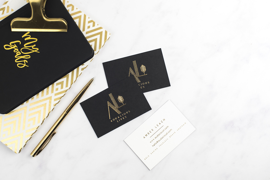 Notebook & Business Cards Flat Lay | Personal Branding Photographer for Creatives | Audacious Lives